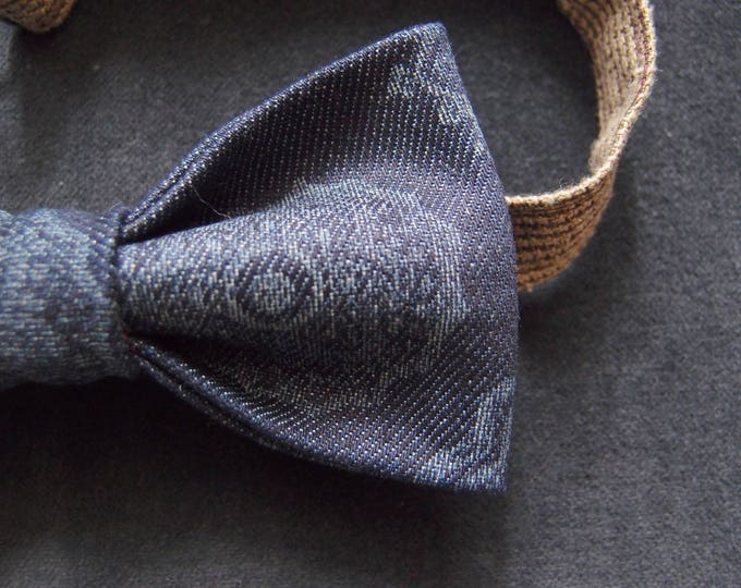fcfb11abdc93 Denim Navy Bow tie, Patterned blue Bowtie, Hipster Bow tie, Adult Bow Tie