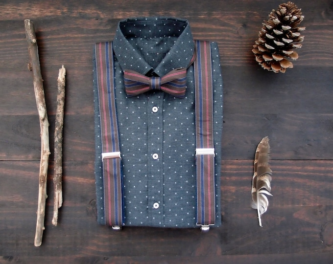 Brown Bow Tie and Suspenders Set, Striped Bow Tie and Braces, rustic wedding accessories