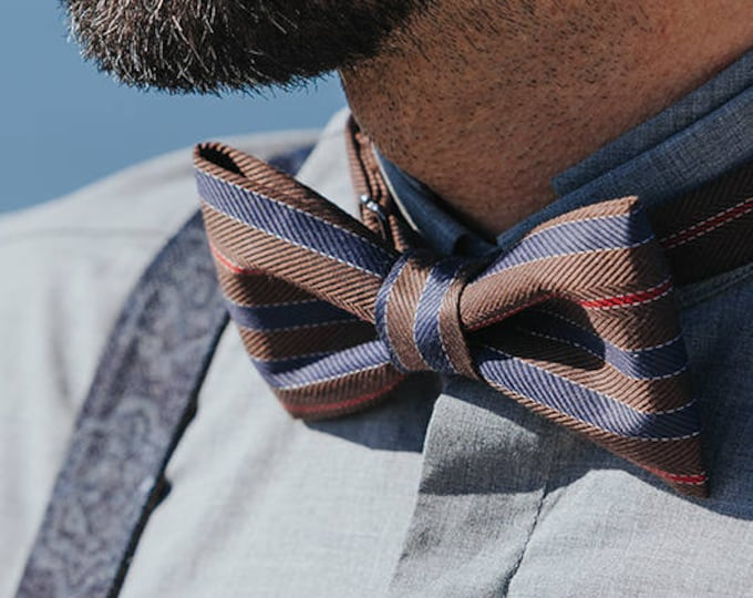 Brown Mens Bow tie, Striped Bow tie, Chocolate Bow tie, Coffee Bowtie, Brown Blue Bow tie, Prom bow tie, Wedding bow tie, gift for dad