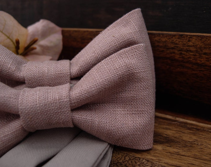 Linen bow tie wedding set, Blush pink formal bow tie for men and matching bow ties for boys, father son gift ideas