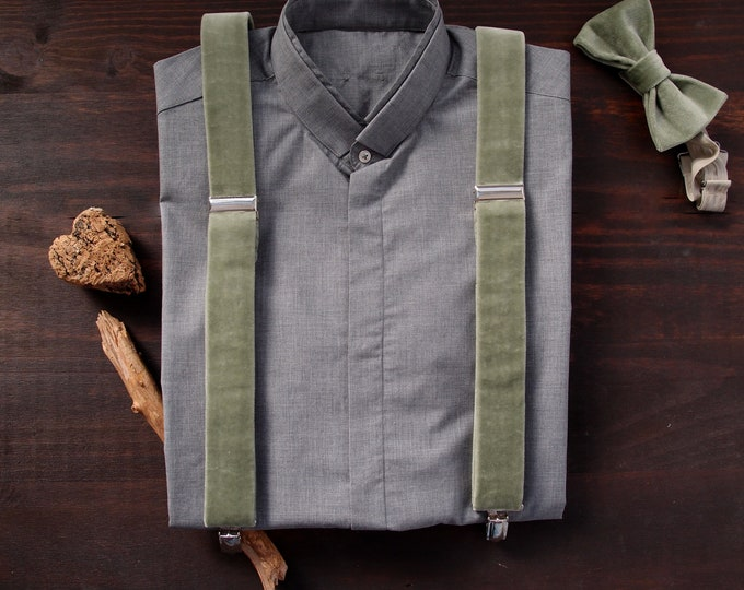 Velvet mens suspenders and bow tie in sage green, Wedding clip on braces and bow tie set, from bride to groomsmen gift