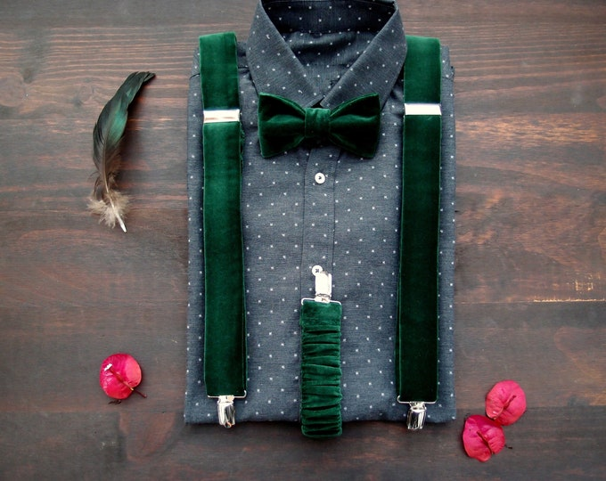 Velvet forest green men suspenders and bow tie, Fancy braces and bow tie for groomsmen or groom, wedding accessories, groomsmen gift