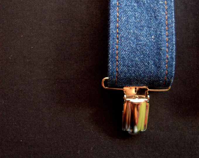 Denim Mens Suspenders , Blue Clip on Braces for men adjustable and vegan, birthday gift for dad, under 50 present