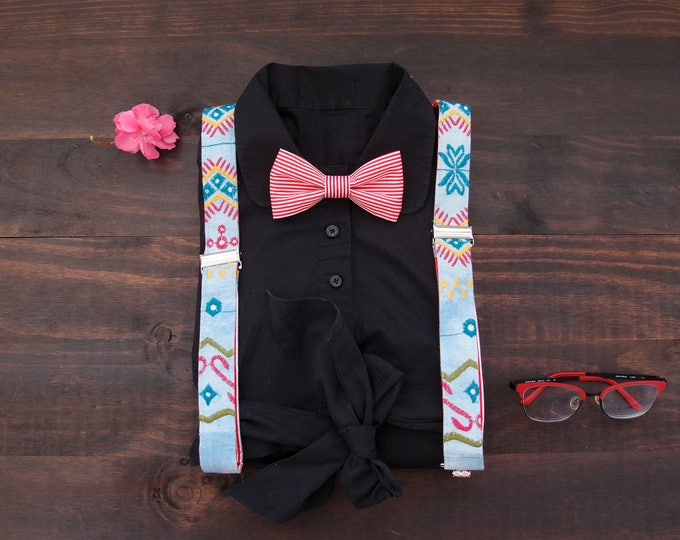 Women suspenders set, Light blue suspenders with red striped bow tie, retro girl suspenders, boss lady gift, gift ideas 2018