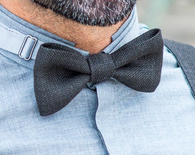Groomsmen bow tie, grey bow tie with adjustable length, grooms bow ties, rustic linen bow tie, husband gift