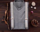 Party Suspenders, Wedding Men Accessories, Gray Striped Men Braces,  Husband gift, Wedding suspenders, Groom suspenders, Best Man