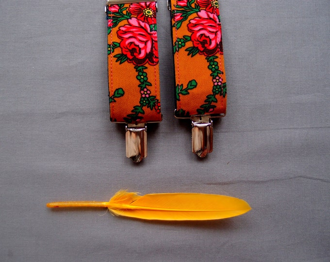 Floral Orange Womens Suspenders, Clip on Vegan Suspenders for Women with adjustable length, Feminine Women Braces, Girlfriend gift ideas