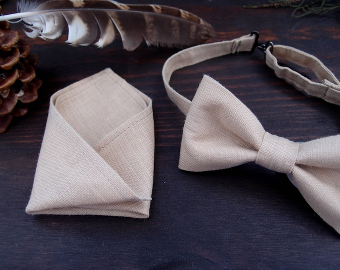 Linen bow tie with matching pocket square, ecru bow tie, christmas gift ideas for husband