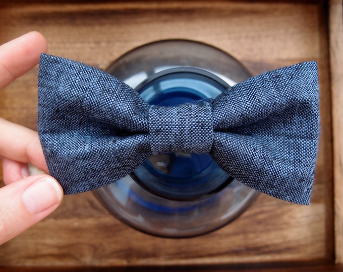 Natural Linen mens bow tie with adjustable strap, Blue Wedding bow tie for groom, Plain Bow ties for men