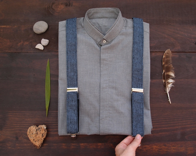 Men in suspenders, denim alike linen blue suspenders for men, formal best quality braces for a wedding or everyday use