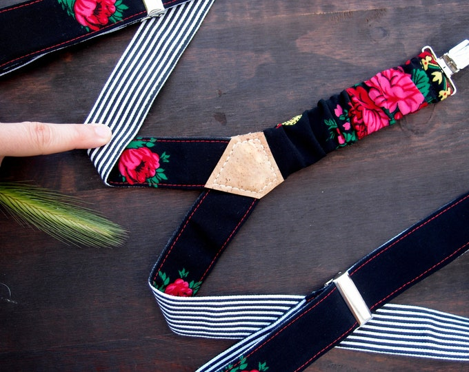 Reversible Womens Suspenders, Black Women Braces, Boho Gift Daughter, Vegan suspenders with Rose and Stripes, unique gift ideas for sister