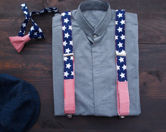 USA bow tie and braces,  American Flag suspenders, Captain America Adult Suspenders set, patriot gift, red white and blue