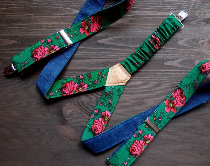 Two Sided Womens Suspenders,  Colorful reversible braces, Textile Green Suspender, Adjustable suspenders for women, Gift for daughter