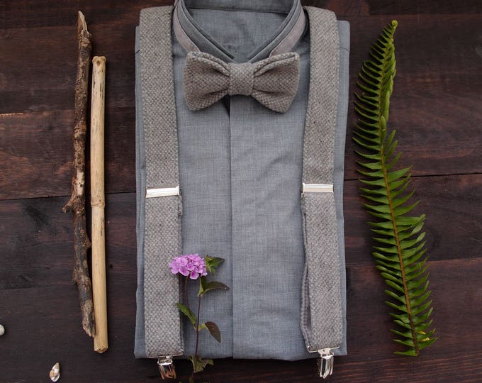 Grey Suspenders and Bow tie, Gray Braces Set, Groomsmen Suspenders Set, Wool bow tie and Suspenders, Gray Bow tie and Suspenders
