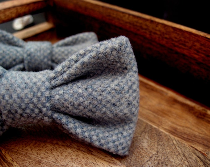 Two wool grey bow ties for men and boy, Father and son wedding bow tie set with adjustable length, big and small bowties combo