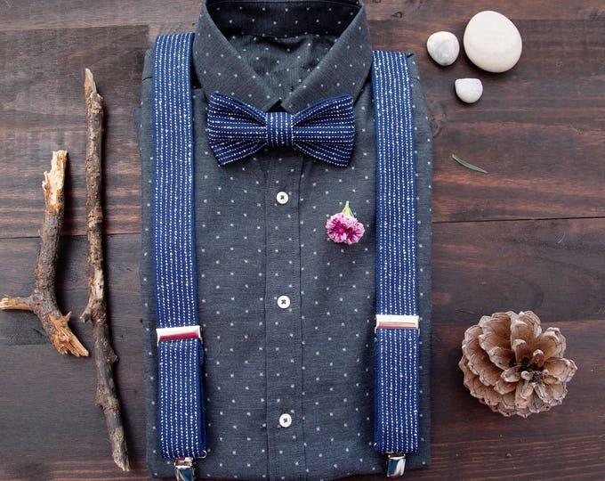 Suspender bowtie set, bow tie suspenders, navy suspenders set for groomsmen, wedding suspenders, groomsmen gift, grooms attire