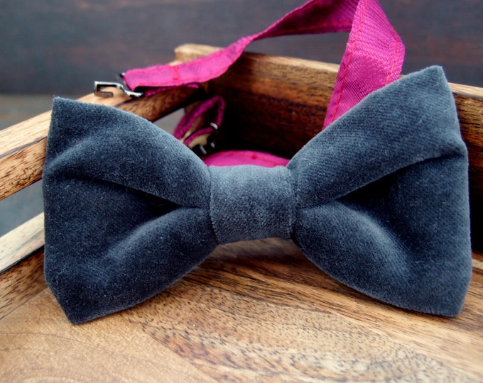 Gray Velvet Bow Ties for men, Dark Gray Pre Tied Bow Tie, Grooms Bow Ties, Wedding Bow Tie, Groomsmen bow tie, Graphite Bowtie, Husband gift