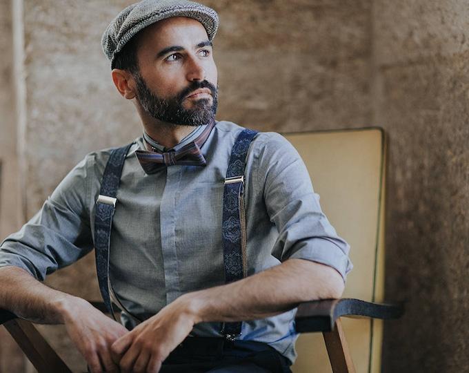 Fabric Mens Suspenders with mandala pattern, Denim braces for men, handmade mens accessories