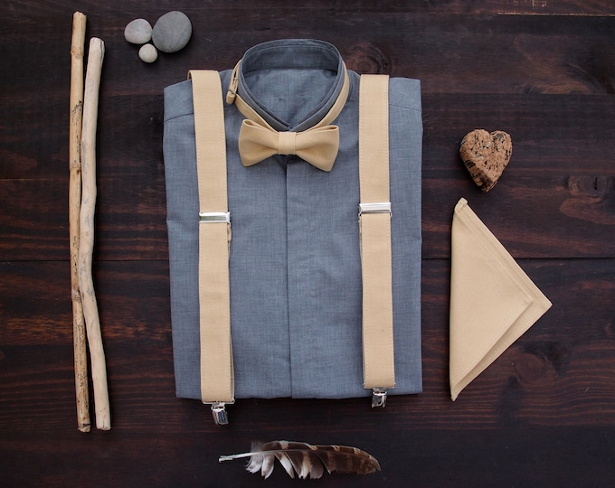 Pocket square set, pocket square, Vegan mens suspenders and matching  bow tie, simple linen suspenders set for groomsmen or groom