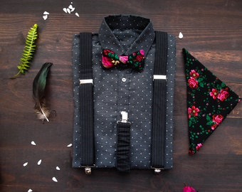 d6fa678648b2 Black mens suspenders and bow tie with matching floral pocket square,  Floral bow tie with braces and pocket square with roses in set