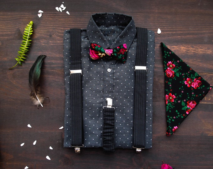 Black mens suspenders and bow tie with matching pocket square with roses, Floral bow tie with braces and pocket square with roses in set