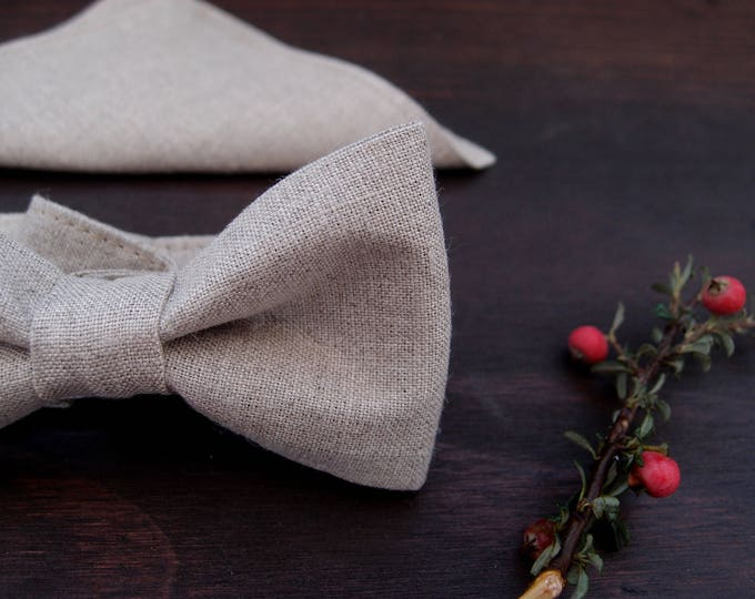Bow tie and pocket square, linen bow tie with pocket square, wedding handkerchief with pocket square for groomsmen