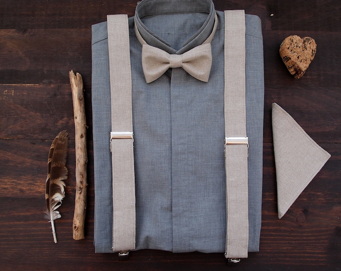 Linen suspenders set with linen pocket square,  groom outfit 2019, gift for father from daughter, bowtie set and pocket square