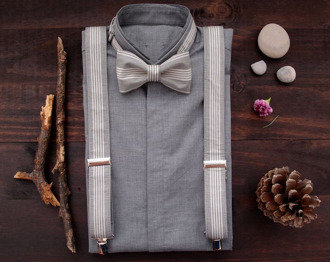 Grey Suspenders and Bow Tie,  Suspenders Set, Braces and Bow Tie, Grooms Bowtie and Suspenders, Mens Braces set, from wife to husband gift