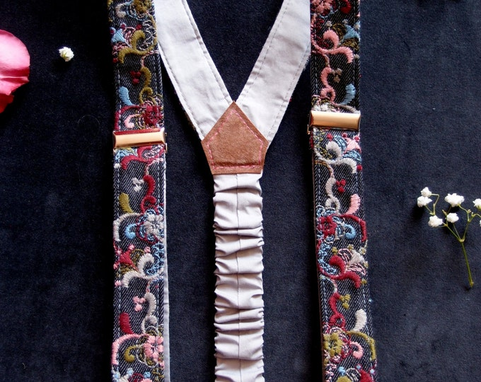 Floral women suspenders with embroidery, Denim women braces, gift for her
