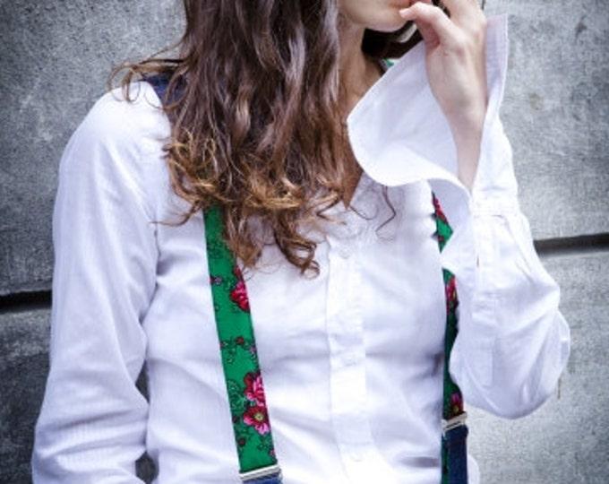 Skirt green suspenders for women, Handmade reversible braces,  vegan sister gift, girlfriend gift, clip on with adjustable length