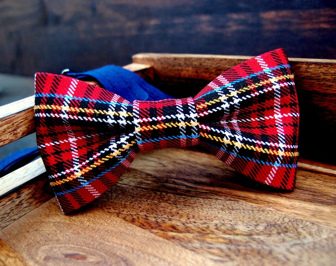 Plaid red mens bow tie, Checkered Bow ties for men, pre tied adult bowtie with adjustable length, mens accessory