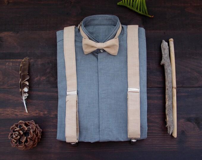 Linen suspenders and bow tie for vegan groom, cream suspenders set, rustic groomsmen gift, gift for stylish men, vegan suspenders set