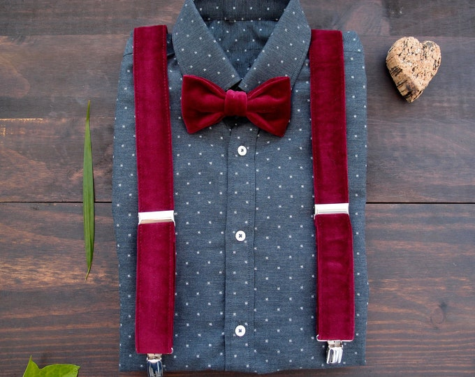 Burgundy velvet mens bow tie and suspenders, burgundy  wedding,  bow tie and braces for groomsmen gift