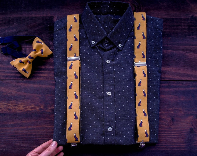 Orange mens bow tie and suspenders with fox, Animal pattern bow tie and braces, vegan and cruelty free mens suspenders wit bowtie