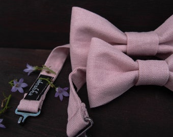 e2a463679a49 Pink Linen bow ties for men and matching boys bow tie, Father son gift set,  Wedding accessories for big and little men