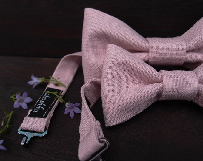 Pink Linen bow ties for men and matching boys bow tie, Father son gift set, Wedding accessories for big and little men
