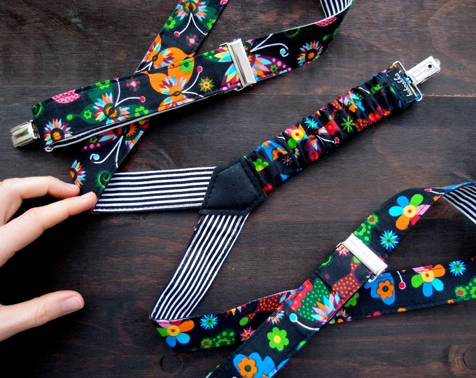 Frida Kahlo Womens Suspenders, Vegan Mexican Fabric Suspenders for powerful girls