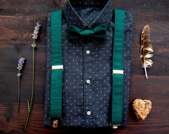 d81a95206 Forest green bow tie and mens suspenders, braces and bowtie with delicate  stripes for men, groomsmen suspenders, wedding outfit accessory