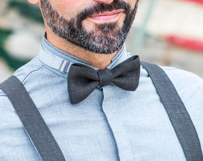 Linen suspenders set to a  rustic wedding, suspenders and bow tie for men, wedding accesssories for groomsmen