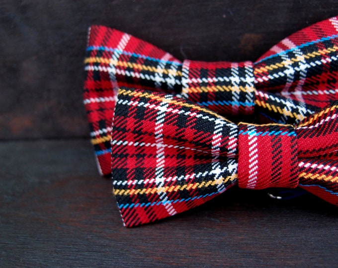 Set of two casual plaid bow ties for big and little men, Red boys bow tie with matching mens bow tie, set for father and son