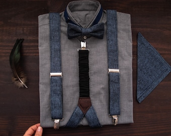 96a5735d8 Linen mens suspenders and bow tie with matching pocket square, Denim alike  suspender and bowtie for grooms groomsmen or stylish men