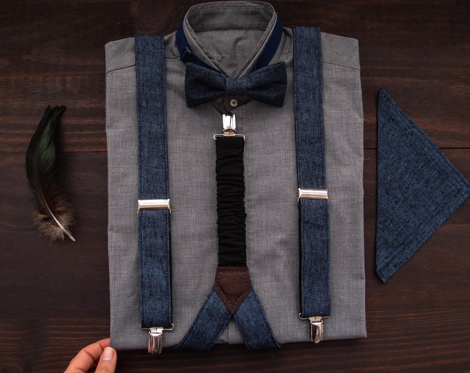 Linen mens suspenders and bow tie with matching pocket square, Rockabilly suspender and bowtie for grooms groomsmen or stylish men