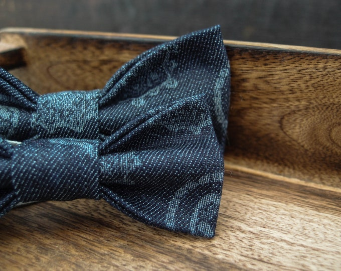 2 denim patterned bow ties for men and boy, Daddy and son wedding bow tie set with adjustable length, big and small bowties combo