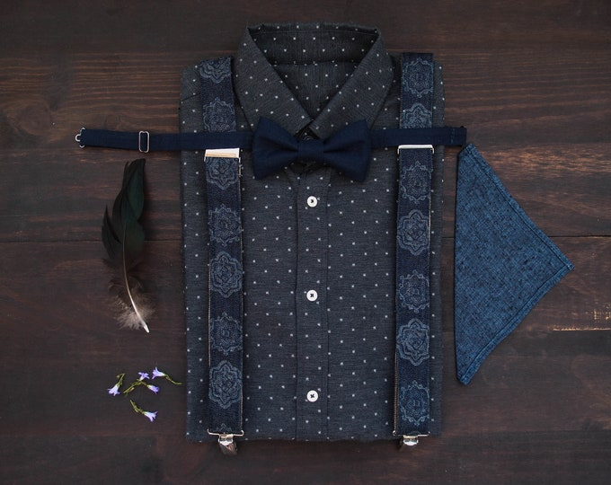 Extravagant denim mens suspenders with matching  dark blue linen bow tie and linen pocket square, mens accessories set for stylish men
