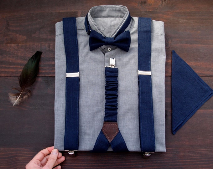 Dark blue linen mens suspenders and bow tie with pocket square im set, wedding braces with bowtie with clips and adjustable length for groom