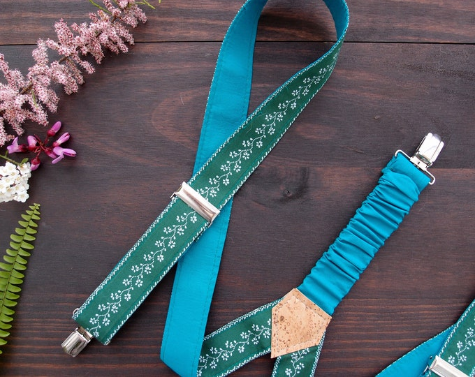 Vegan Gift, Girl Boss Green Suspenders, braces, gift for mom, feminist gift, 30th birthday gift for her