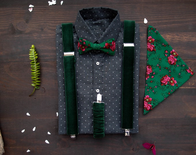 Green Mens Suspenders set with matching floral bow tie and floral pocket square, Velvet bottle green braces with bow tie for the wedding
