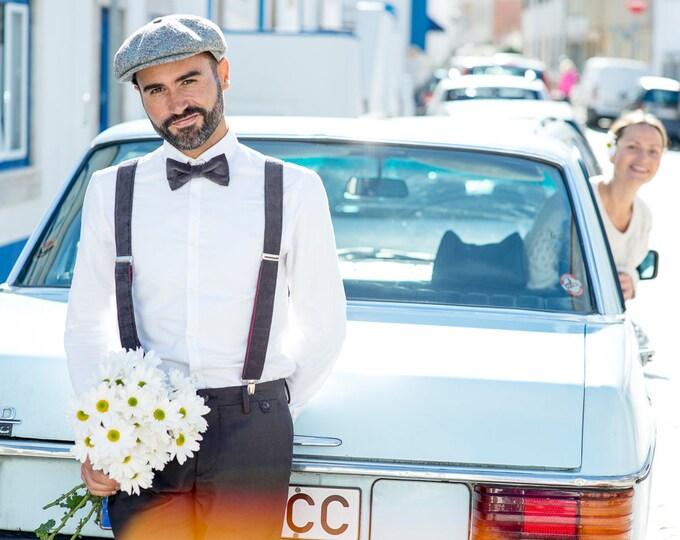 Suspenders and bow tie,  Handmade Velvet suspenders with matching  bow tie, gray, mens braces set, velvet suit accessories
