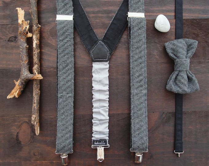 Christmas gift ideas for father, Grey bow tie and suspenders, Adult  suspenders set, Mens suspenders set, Suspenders bowtie set