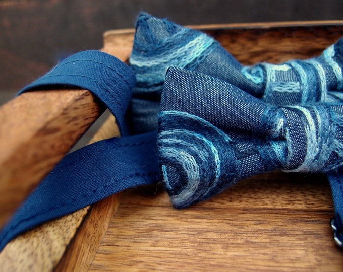 Blue denim boys bow tie with matching mens bow tie with embroidery, Set of 2 wedding bow ties for father and son, little and big